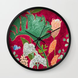 Fuchsia Pink Floral Jungle Painting Wall Clock