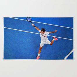 Flying Federer Tennis Backhand Rug