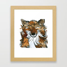 Sleepy Tea Fox Framed Art Print