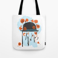 tom waits Tote Bags featuring Tom Waits by Laura Shaffer