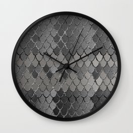 Mermaid Scales Silver Gray Glam #1 #shiny #decor #art #society6 Wall Clock