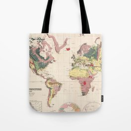 Vintage Geological Map of The World (1856) Tote Bag