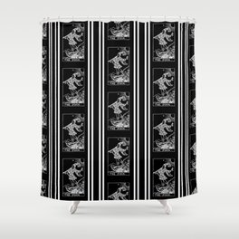 The Fool - A Black and White Striped Tarot Print Shower Curtain