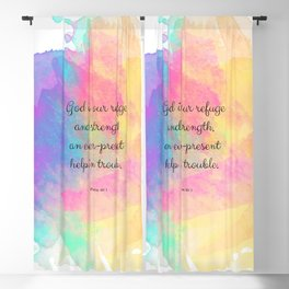 Psalm 46:1, God is our Refuge, Scripture Quote Blackout Curtain