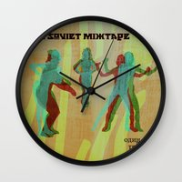 soviet Wall Clocks featuring The Soviet Mixtape by Jorge Soriano