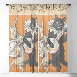 The Black Cat & White Rabbit Sheer Curtain