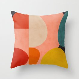 geometry shape mid century organic blush curry teal Throw Pillow