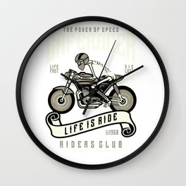 Cafe Racer Motorcycle Team Riders Club Wall Clock