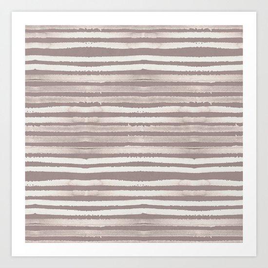 Simply Shibori Stripes Lunar Gray and Red Earth Art Print