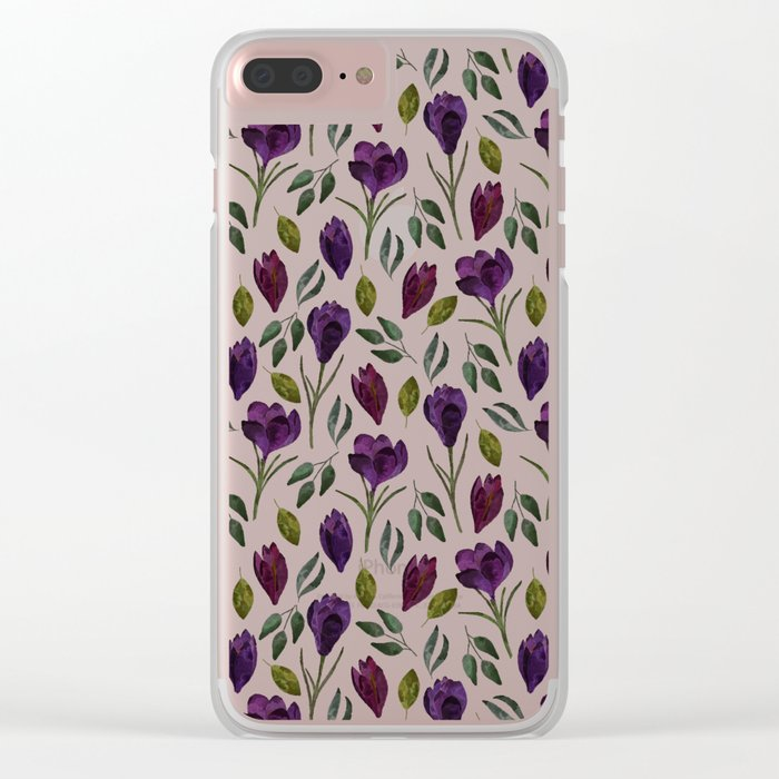 Plum Rose Garden Clear iPhone Case