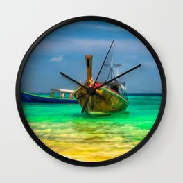 Thai Longboats Art Wall Clock