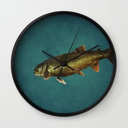 Trout on Teal Blue Wall Clock