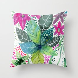 Leafy Tropical Throw Pillow