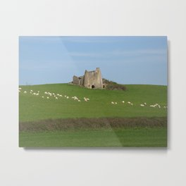 landscape with sheep and castle Metal Print