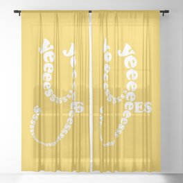 Yes Yes Yes ... (in a playful and fun typography design theme) Sheer Curtain