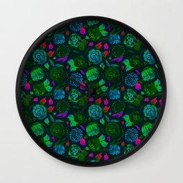 Watercolor Floral Garden in Electric Black Velvet Wall Clock