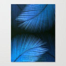 Palm leaf synchronicity - metallic blue Canvas Print