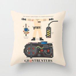 Ghostbusters movie poster, BIll Murray, Peter Venkman, Harold Ramis, proton pack, ghost trap Throw Pillow