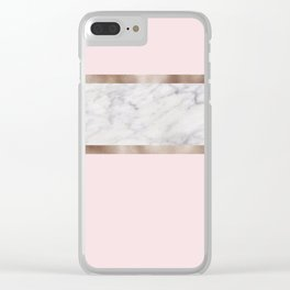 Strawberries and cream - grey marble & rose gold Clear iPhone Case