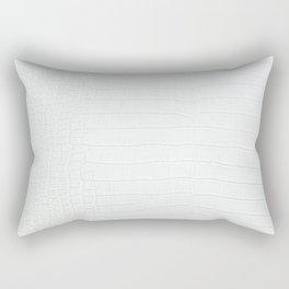 White Crocodile Realistic Skin Print Rectangular Pillow