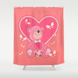 Teddy Bear and Butterflies Shower Curtain