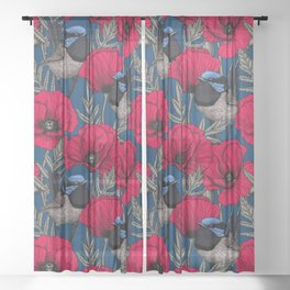 Fairy wren and poppies Sheer Curtain