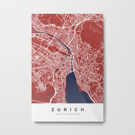 Zurich - Switzerland   Red & Blue   More Colors, Review My Collections Art Print Metal Print