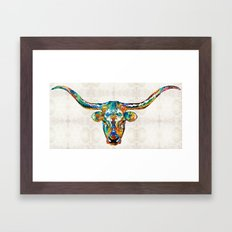 Colorful Longhorn Art By Sharon Cummings Framed Art Print