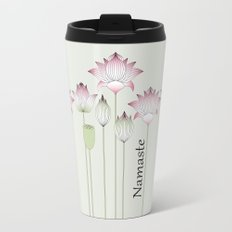 Modern Vintage Pink Lotus Flower Travel Mug