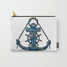 Anchor and Steering Helm [Multicolored 2] Carry-All Pouch