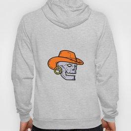 Cowboy Pirate Skull Mono Line Art Hoody