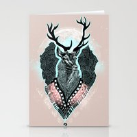 wind Stationery Cards featuring Wind:::Deer by Süyümbike Güvenç