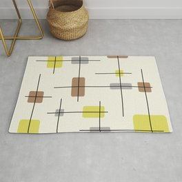 Rounded Rectangles And Squares Yellow Brown Gray Rug