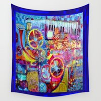 steam punk Wall Tapestries featuring Blue Steam Punk  Music Key Board & Clock Works Abstract by SharlesArt