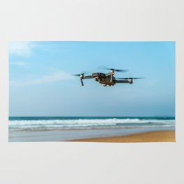 UAV Drone Quadcopter And Digital Camera Flying, Technology, Unmanned Aerial Vehicle, Drone Photo Rug