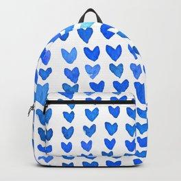 Brush stroke hearts - blue Backpack