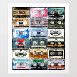 retro audiotapes Art Print