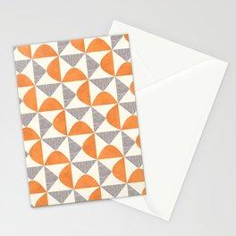 Orange and Gray Retro Minimalist Geometric Pattern Stationery Cards