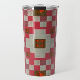 project for a quilt red and beige with floral patterns Travel Mug