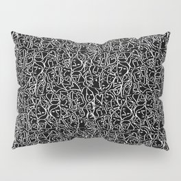 Elios Shirt Faces with Valentine Hearts in White Outlines on Black Pillow Sham