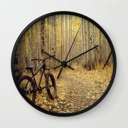 Golden Aspen Mountain Biking Wall Clock