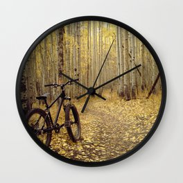 Golden Aspen Mountain Biking Wall Clock