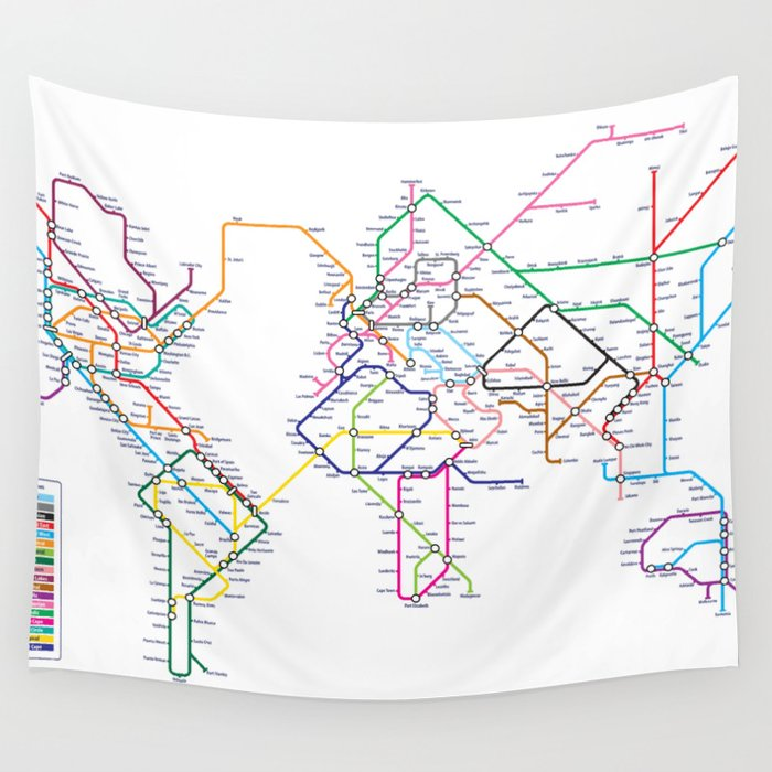 World Metro Subway Map.World Metro Subway Map Wall Tapestry By Artpause