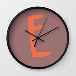 The Letter E Brush Typography Wall Clock