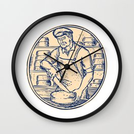 Cheesemaker Cutting Cheddar Cheese Etching Wall Clock