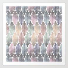 Metallic Leaf Pattern Art Print