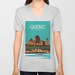 Quebec canada poster Unisex V-Neck