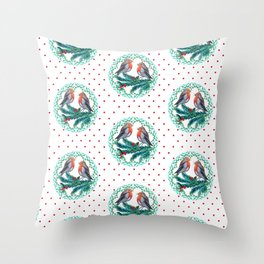 Robins christmas wreath of love Throw Pillow