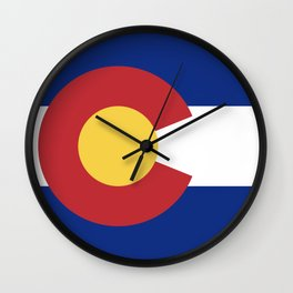 Blue Red and Gold Flag of Colorado Wall Clock