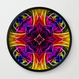 Rainbow Rose Kaleidoscope Mandala Wall Clock
